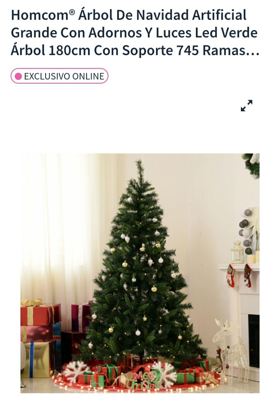 Árbol de navidad 180cm con adornos y luces led