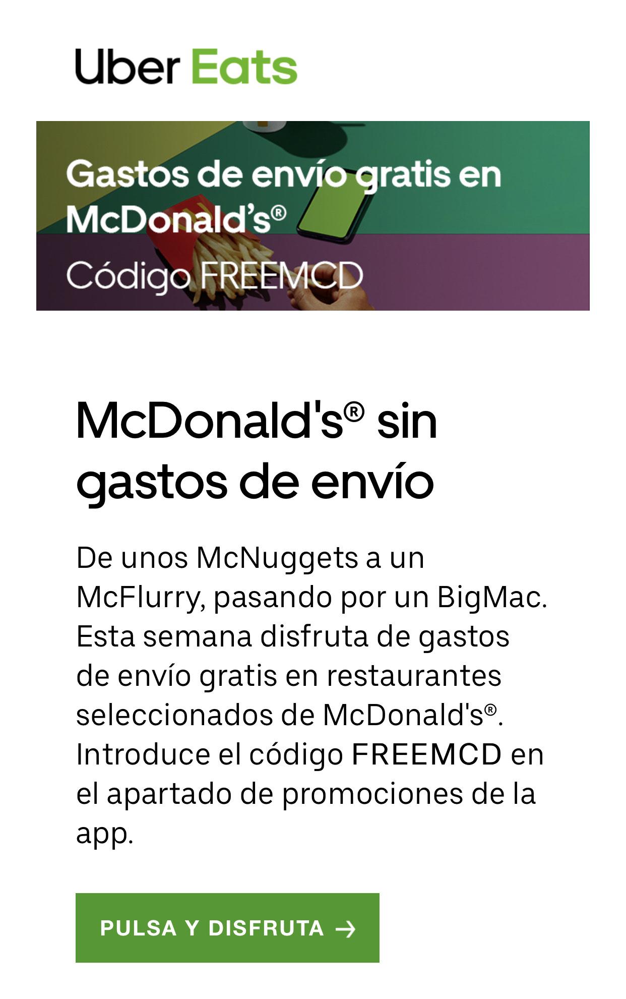 Envío gratis McDonalds Uber eats