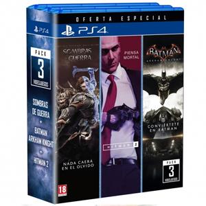 Triple Pack Batman Arkham + Hitman 2 + Sombras de Guerra (PS4, Carrefour)