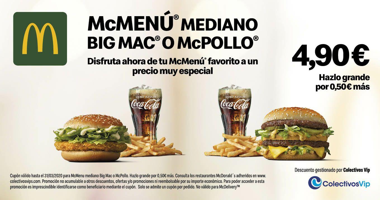 Menú mediano BigMac o McPollo