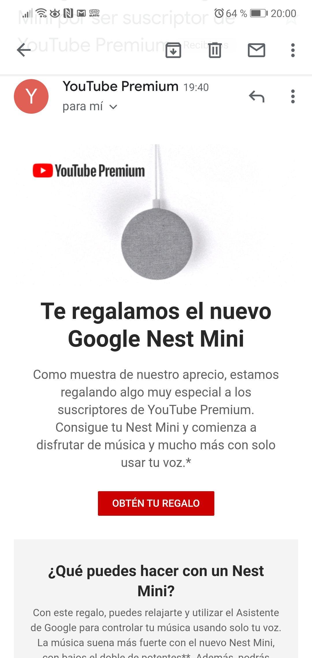 Google Nest Mini GRATIS para suscriptores YouTube Premium SELECCIONADOS