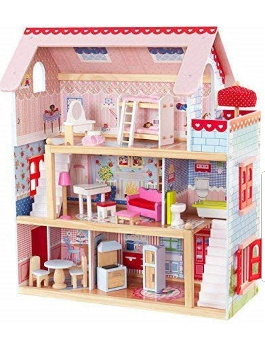 Casa de muñecas de madera de 3 plantas