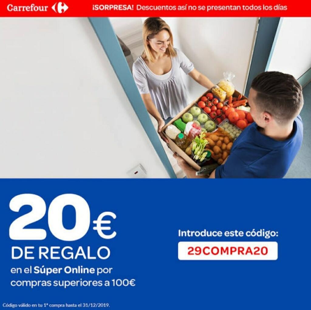 20€ de regalo en Carrefour (primera compra online, mínimo 100€)