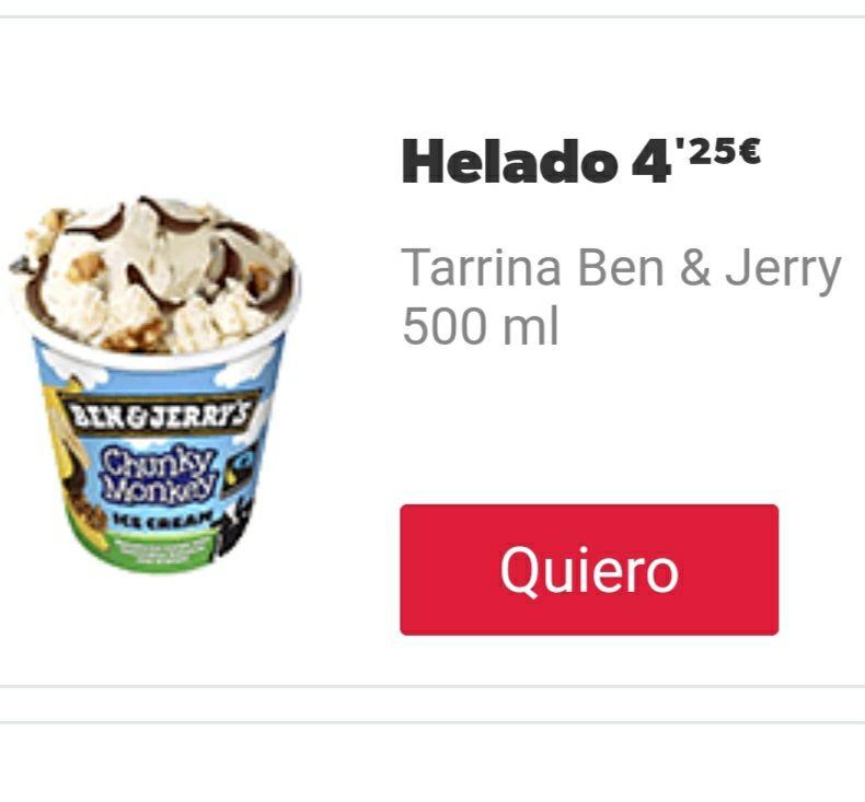 Ben & Jerry's 500ml a 4,25€ a domicilio DOMINO'S PIZZA