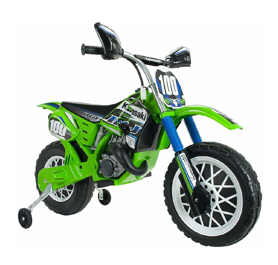 Moto de Cross Kawasaki a batería de 6V licenciada para niños de +3 años con acelerador y freno (color verde - ninja)