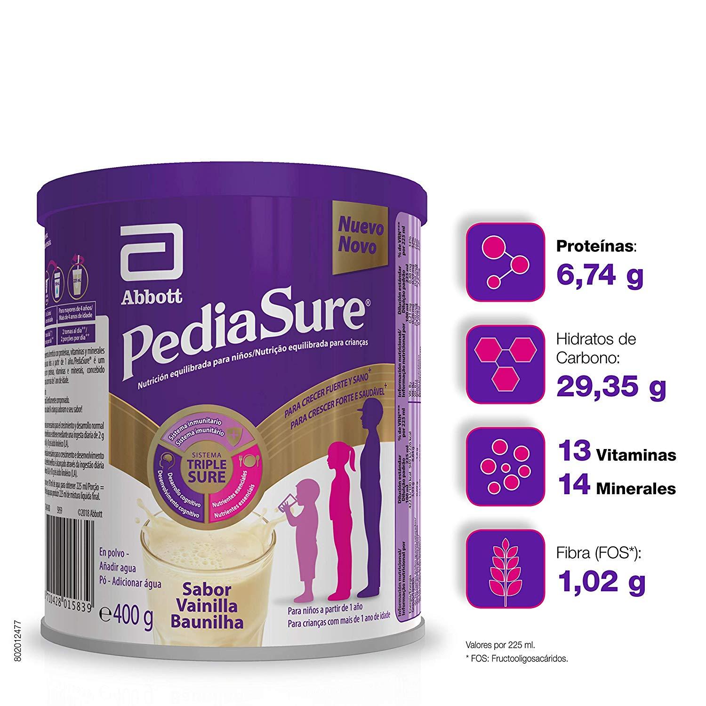 PediaSure - Complemento Alimenticio para Niños con Proteínas, Vitaminas y Minerales, Sabor Vainilla - 400 gr