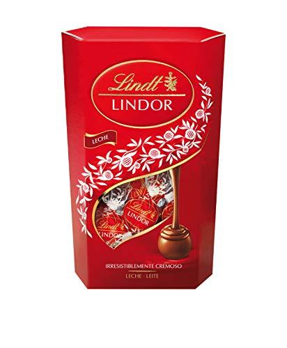 Lindt Lindor Cornet Caja de bombones cremosos de chocolate con leche, 600gr.