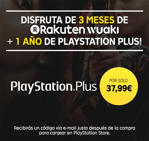 12 meses Playstation Plus + 3 meses de Rakuten Wuaki televisión