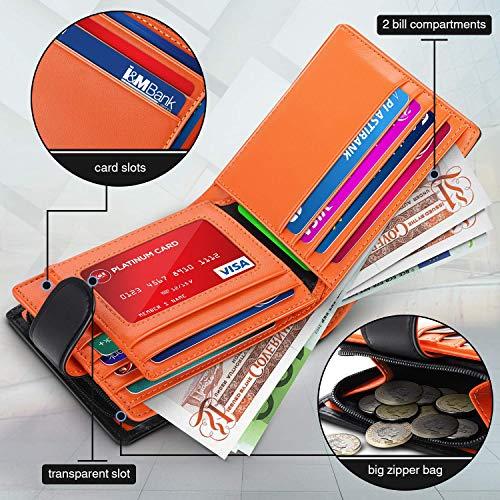 WILBEST Billetera de Hombre de Piel, RFID, con Monedero en forma de bolsillo con Cremallera, Negro Naranja