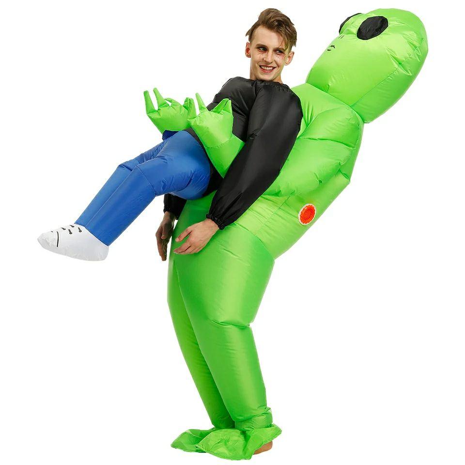 Disfraz inflable de alien estilo ride-on.