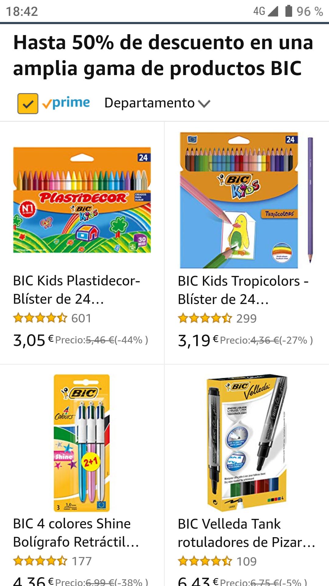 Rebajas en productos BIC