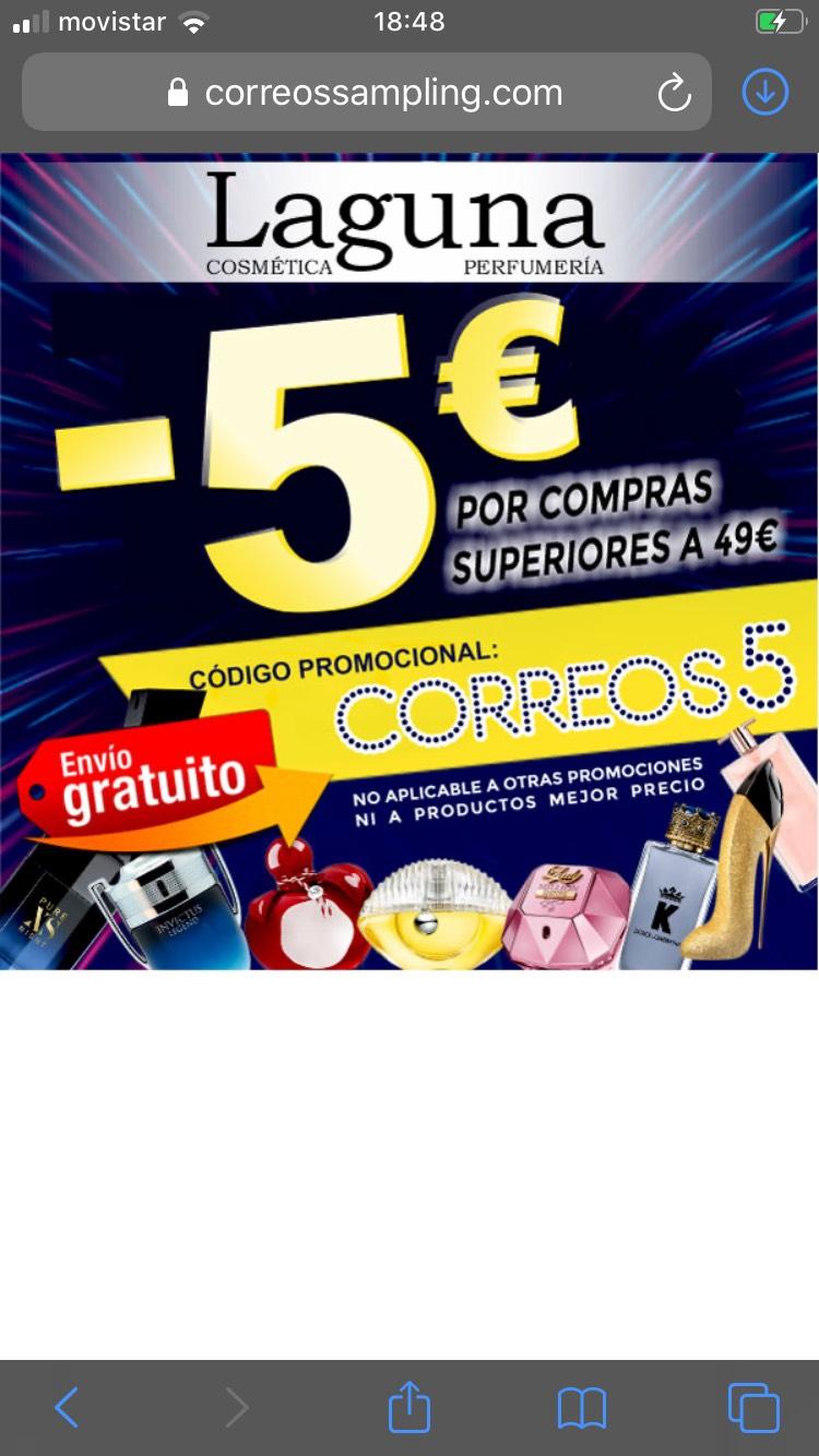 5€ en perfumes para compras superiores a 49€ (perfumerialaguna)