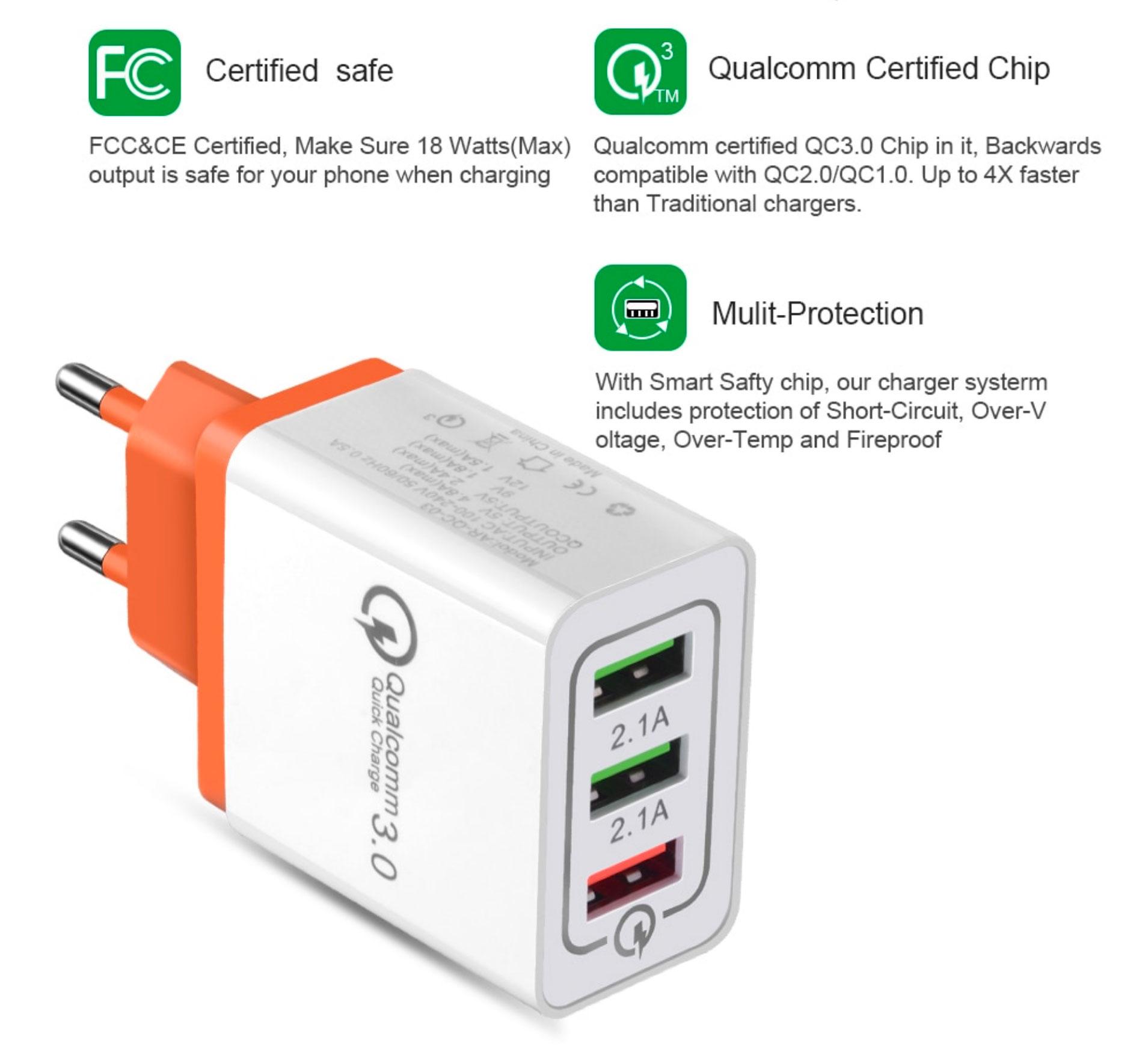 Cargador universal con tres puertos USB compatible con la carga rápida Quick Charge 3.0