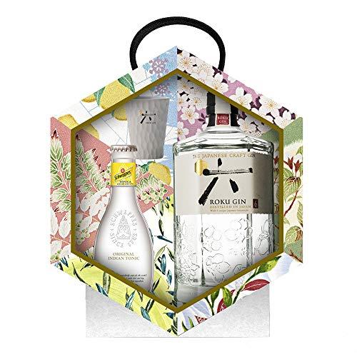 Ginebra Japonesa ROKU, con estuche y vaso medidor para regalar esta navidad.