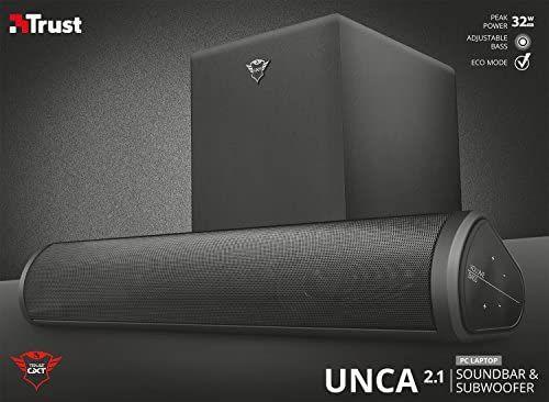 Trust Gaming GXT 664 Unca - Barra de Sonido 2.1 con subwoofer, Color Negro