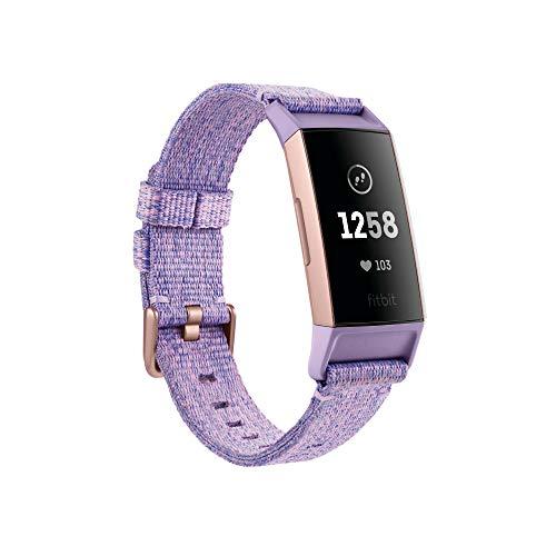 Fitbit Charge 3 (Fitbit PAY) Pulsera Avanzada de Salud y Actividad física, Unisex-Adult, Oro Rosa/Lavanda, Talla Unico