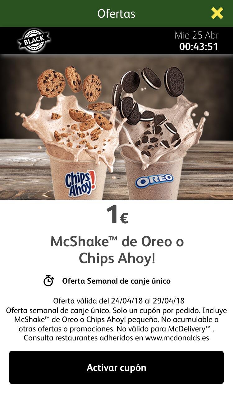 McShake Oreo/Chips Ahoy - Oferta semanal Mcdonals