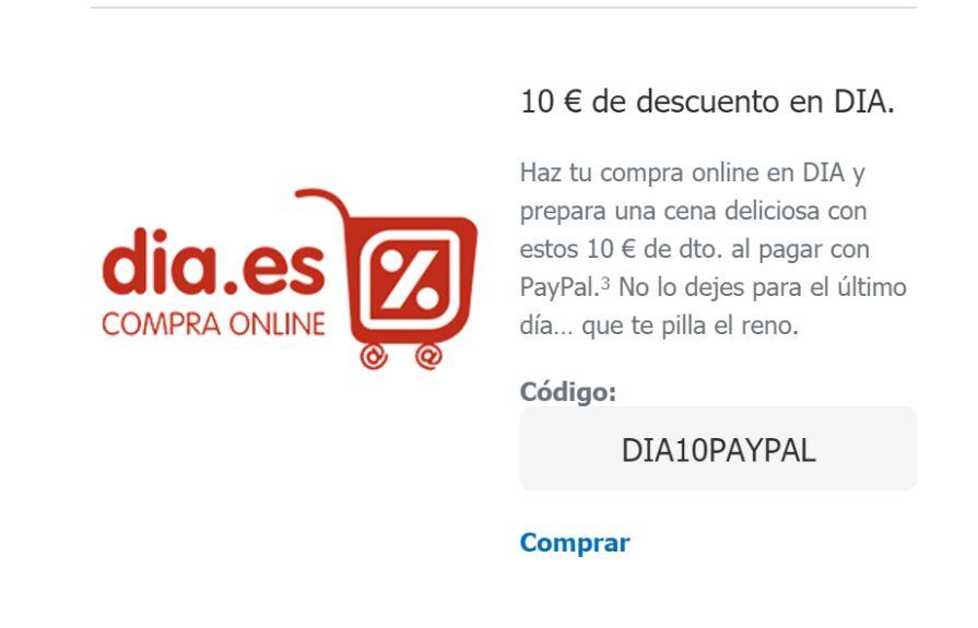 Cupones Paypal (10€ en 70€ en DIA, 10% Renfe Viajes...)