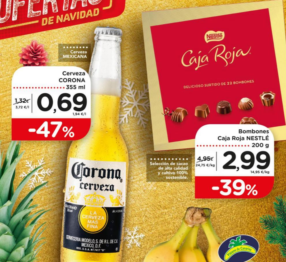Caja Roja 200g a 2,99€, Cerveza Corona a 0,69€, Piña a 0,59€, 16 rollos de Scottex a 1,99€ y otras ofertas muy interesantes