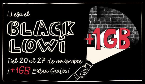 Black Lowi!! 1 GB extra GRATIS en nuevas tarifas