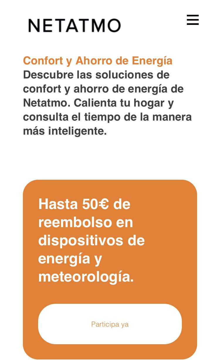 Netatmo. Hasta 50€ de reembolso en dispositivos de energía y meteorología.