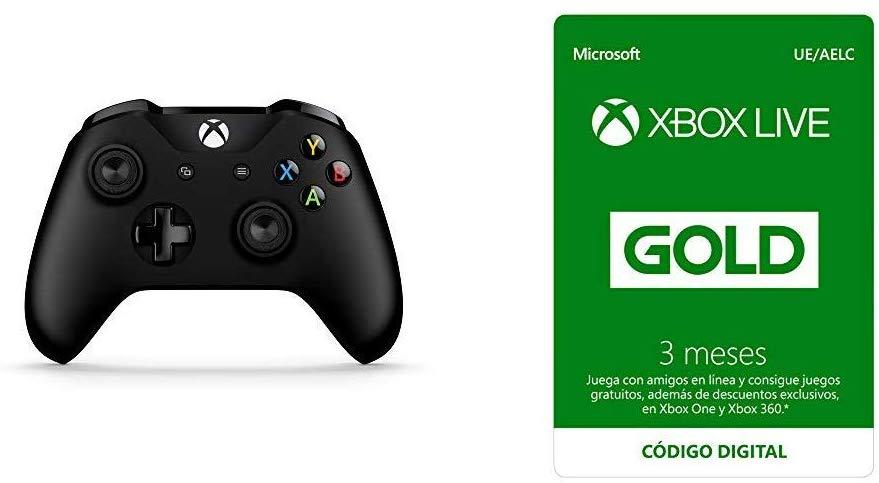 Microsoft - Mando Inalámbrico, Color Negro (Xbox One), Bluetooth + Suscripción Xbox Live Gold - 3 Meses