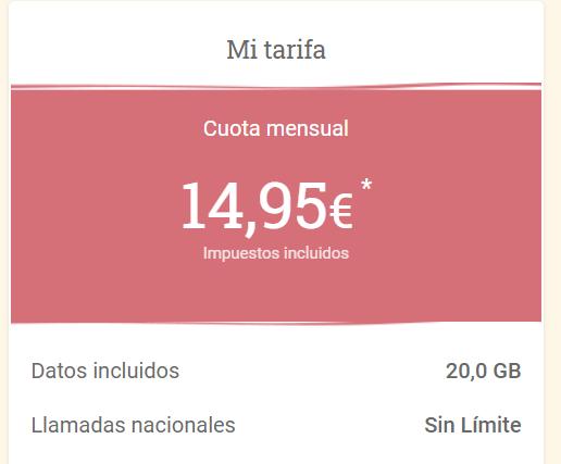 LOWI 20 gigas + llamadas ilimitadas por 14,95€ al mes