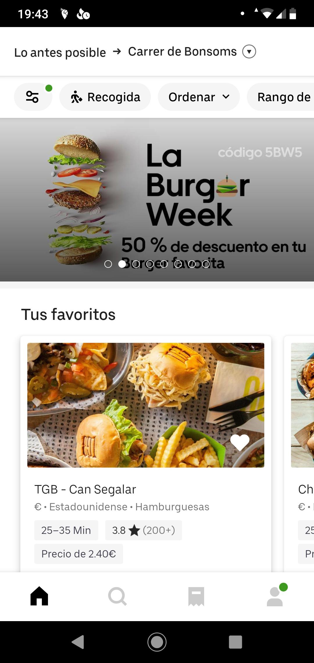 50% en hamburguesas en Uber eats (Solo Barcelona)