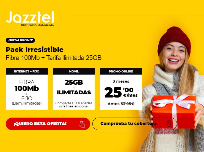 Fibra 100Mb + FIJO + Tarifa móvil ilimitada 25GB (3 meses)