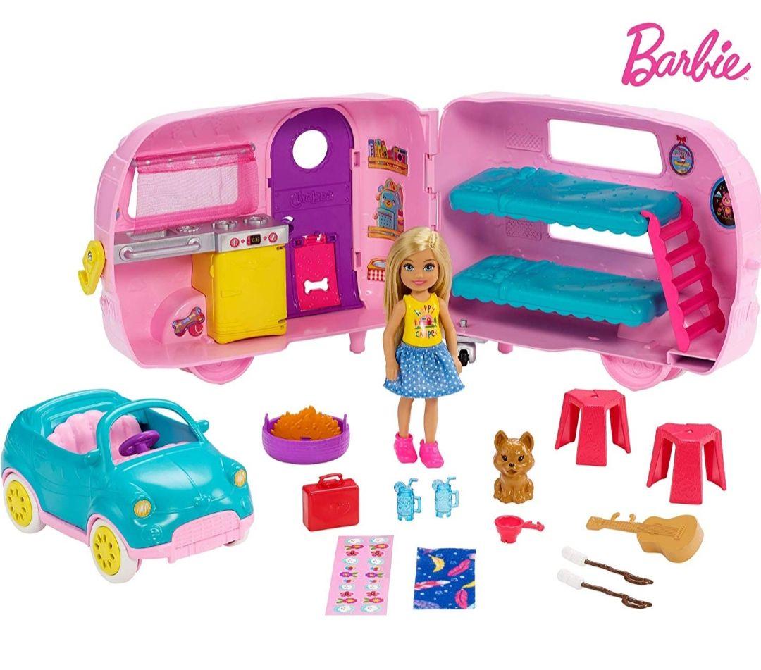 Barbie Chelsea Caravana Transformable, coche y Perrito