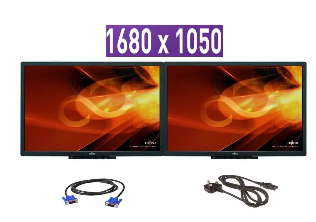"Widescreen: 2 Monitores Fujitsu 22"" LCD 1680 x 1050 (Reacondicionados)"