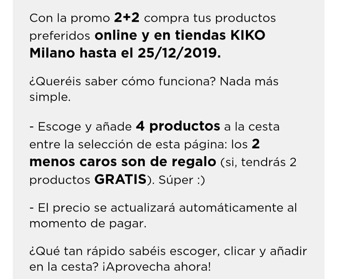 4x2 en Kiko hasta el 25 de diciembre