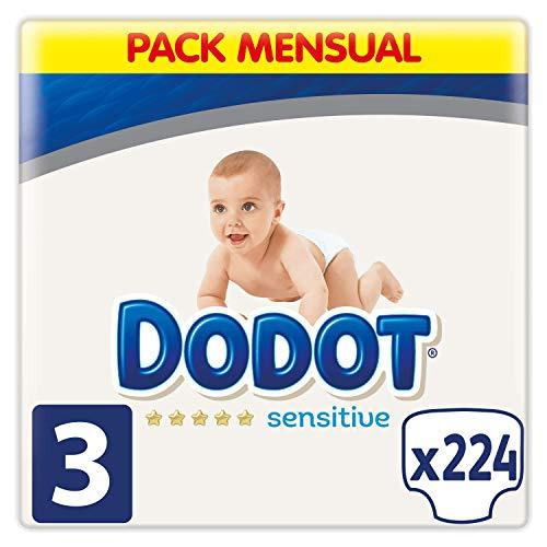 Dodot Sensitive - Pañales, Talla 3 ( 6-10 kg), 224 Pañales