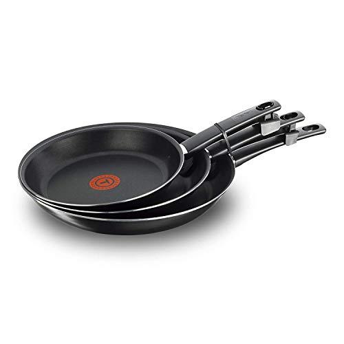 Tefal First Cook - Set de sartenes Negro Gas, Aluminio, Negro, 18/22/26 cm