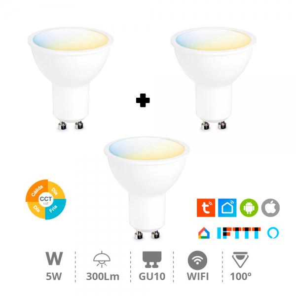 3x Bombillas GU10 5 W WiFi - Compatibles con Alexa & Google