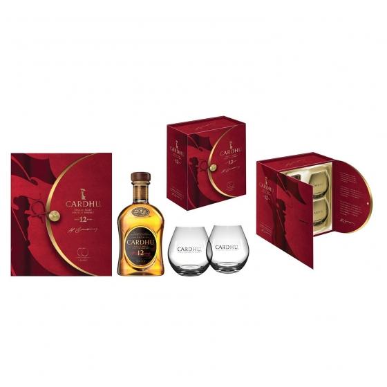 Pack whisky Cardhu Malta 12 años 70 cl + 2 vasos