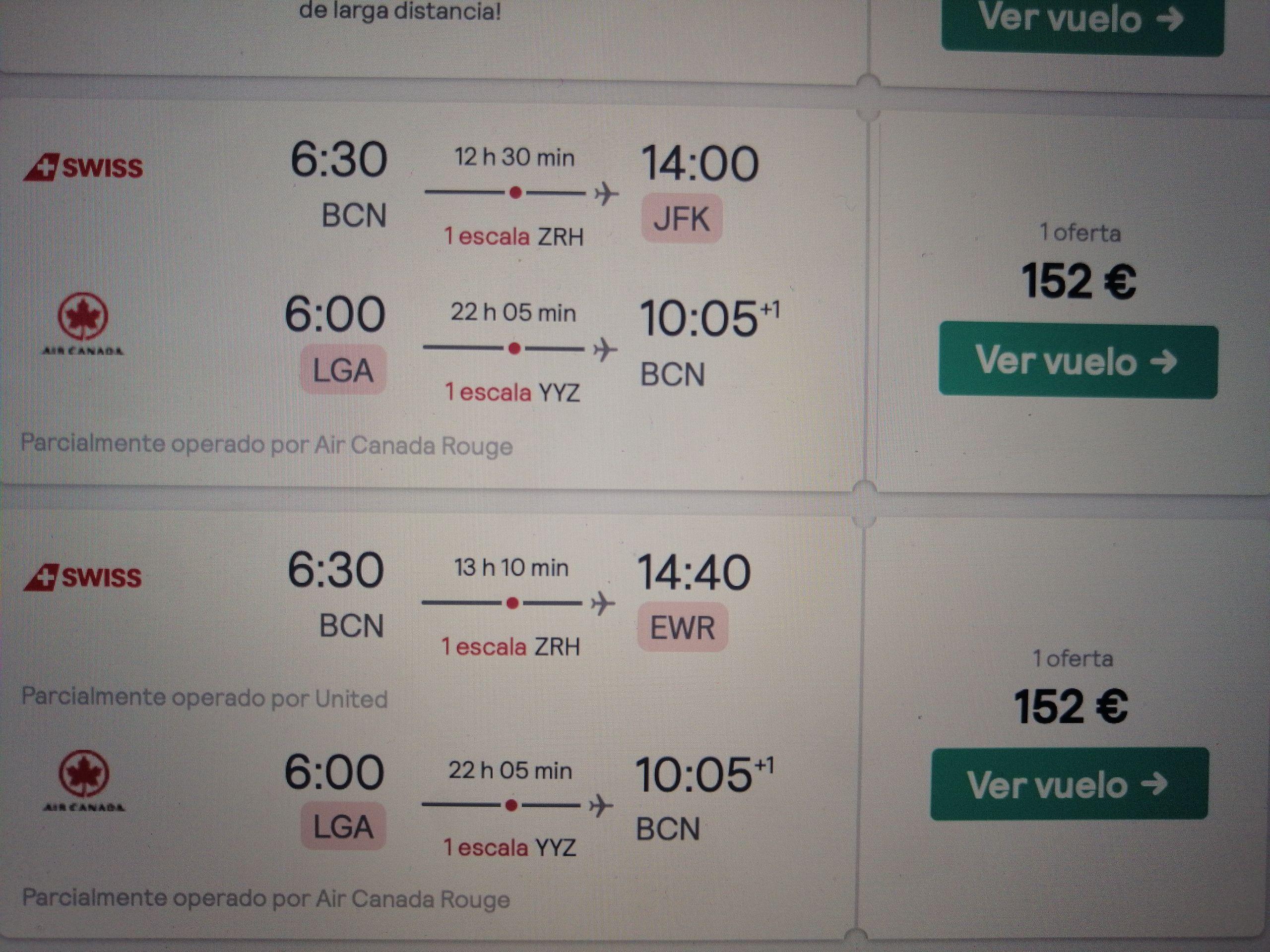 Vuelo Barcelona-Nueva York i/v 150€