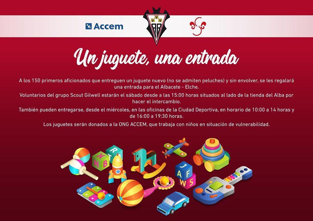 Entrada gratuita dando un juguete, Albacete-Elche
