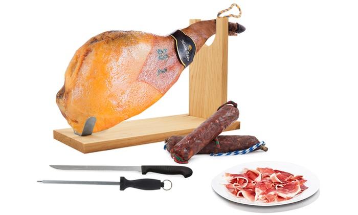 Paleta serrana, chorizo y salchichón ibérico, con jamonero, cuchillo y chaira