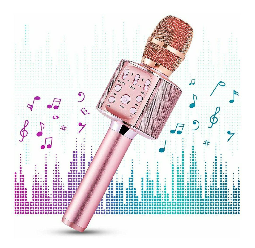 Micrófono de karaoke inalámbrico,portátil 4 en 1 con altavoz y Wireless 4.2