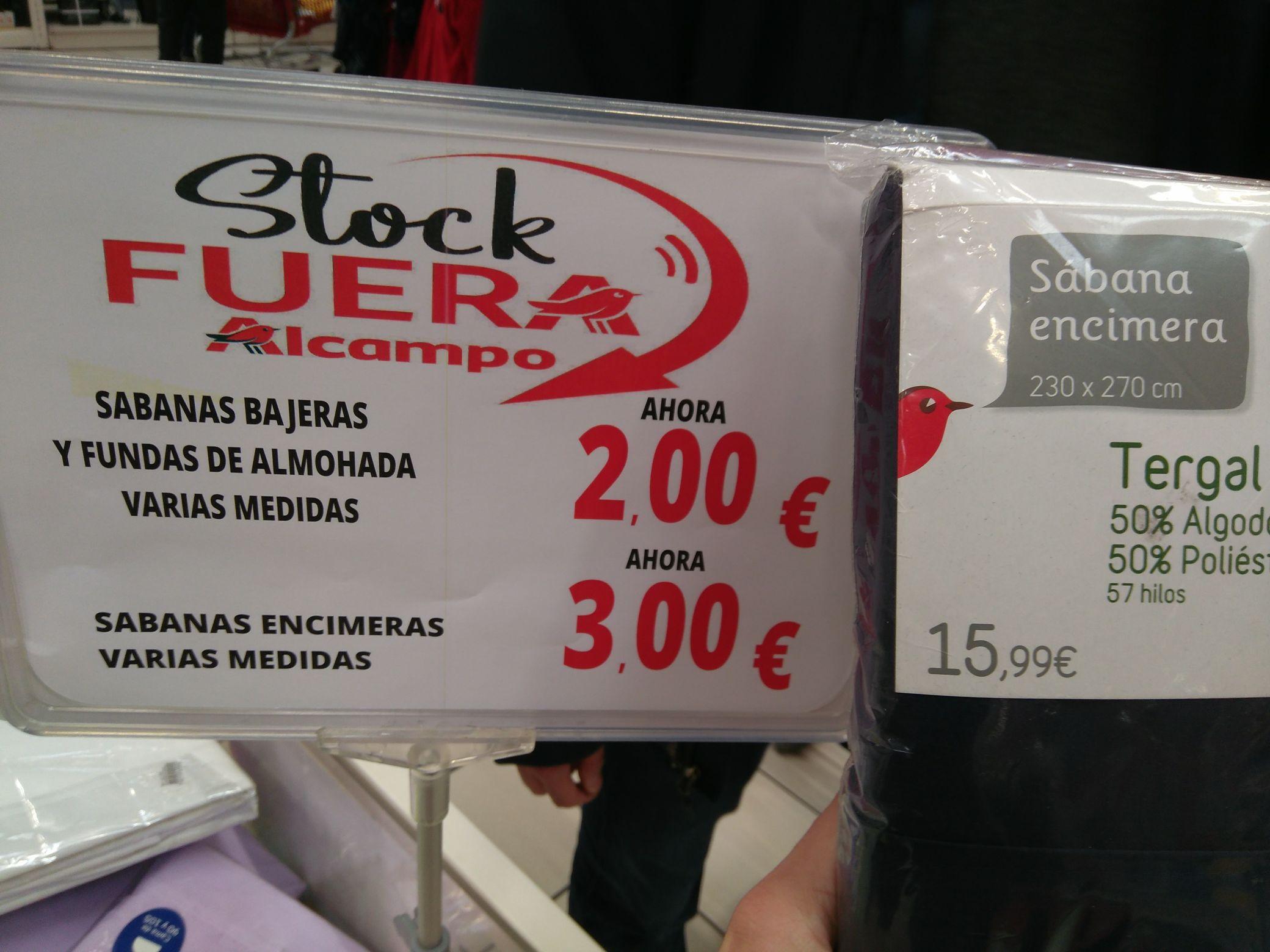 Sábanas y fundas en Alcampo 2 euros!!