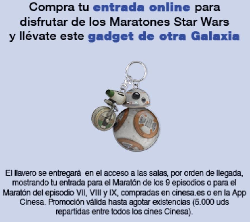 """Llavero Star Wars GRATIS por asistir al Maratón de """"Star Wars VII, VIII, y IX"""""""