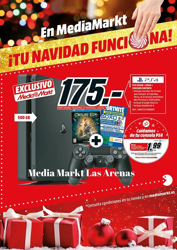 Playstation 4 500 Gb + Deus Ex + Pack Fornite (Canarias)