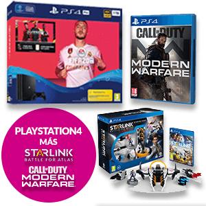PS4 SLIM 500GB + FIFA 20 + STARLINK + CODIGO DESCARGA CALL OF DUTY Modern Warfare