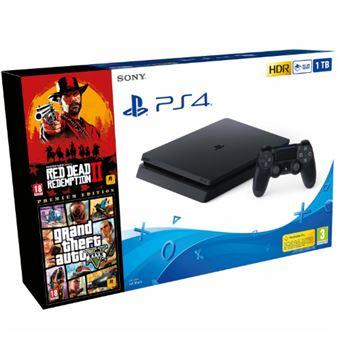 PS4 Slim 1TB Red Dead Redemption 2 + Grand Theft Auto V - Premium Edition