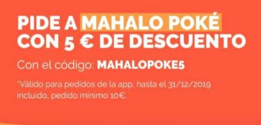 Mahalo poke 5€ de descuento en Just Eats