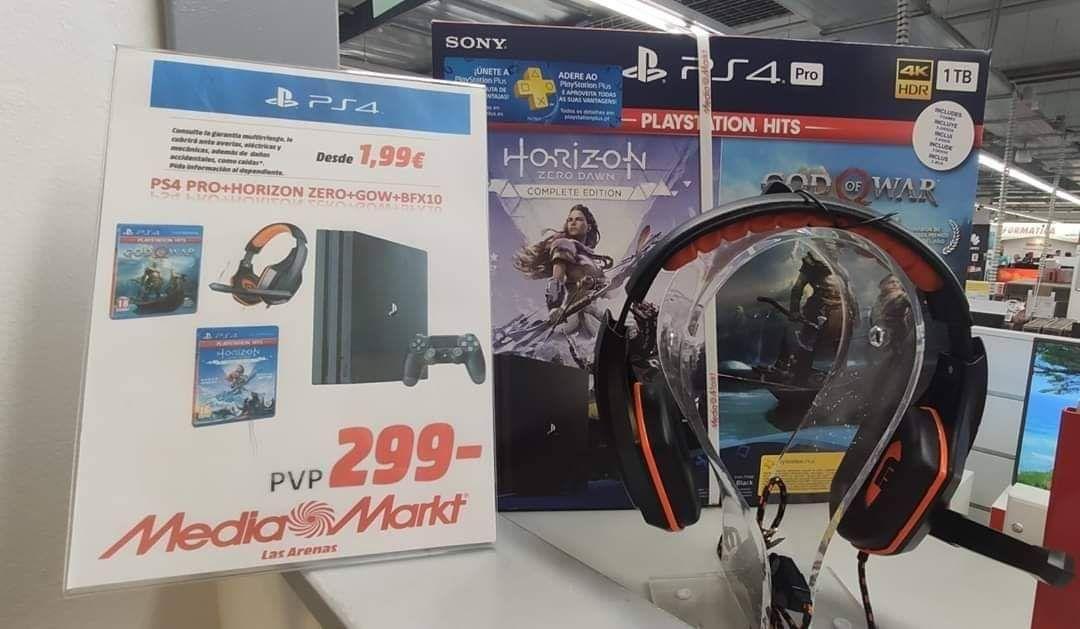 PS4 PRO 1 TB + Horizon Zero Dawn + God of War + Cascos (Media Markt Las Arenas)