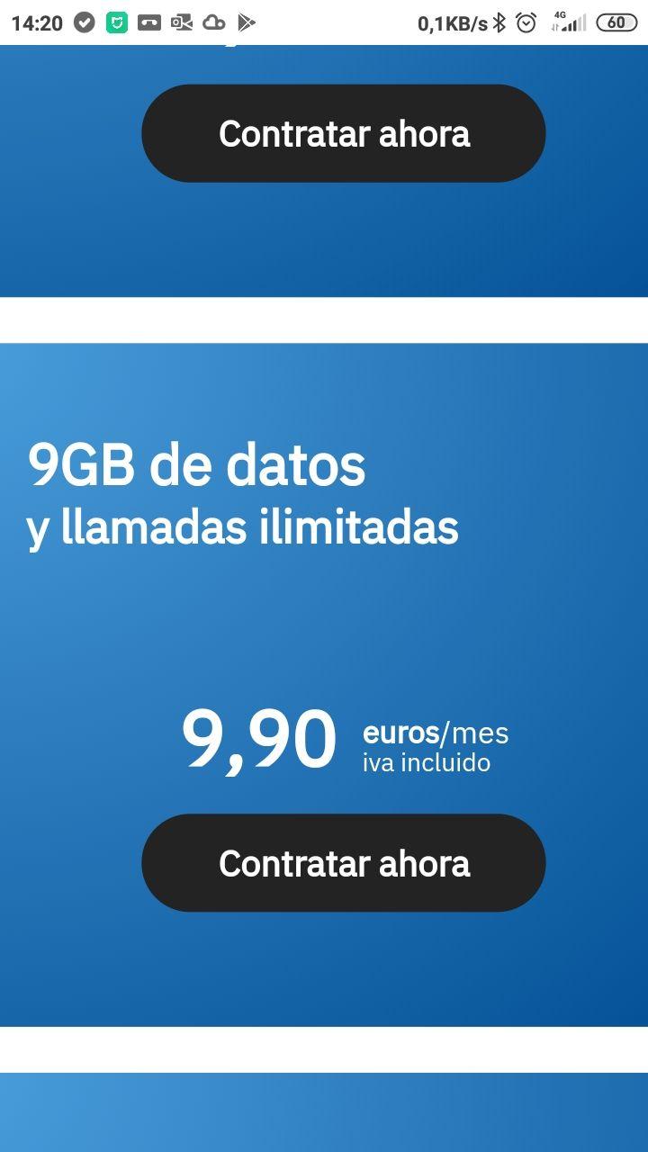 Llamadas ilimitadas+ 9gb Datos