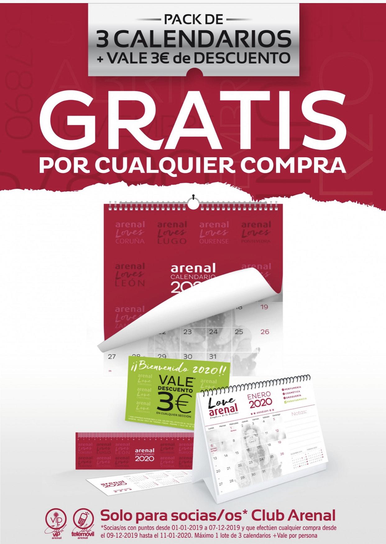 Pack de 3 calendarios + vale de 3 euros de compra por cualquier compra de cualquier importe para los socios de PERFUMERÍA ARENAL.