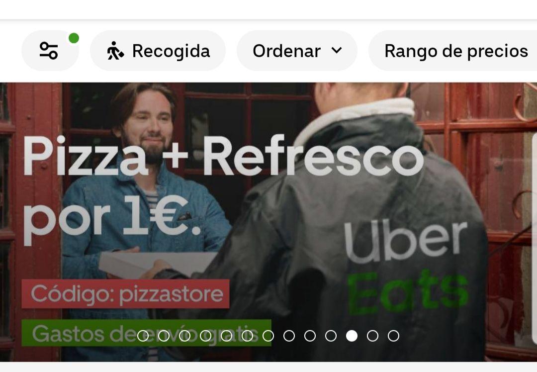 UBER EATS-PIZZASTORE Pizza pepperoni + bebida 1€ (Valencia) Gastos de envío gratuitos